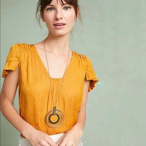 Anthro Maeve Hailey Flutter Sleeve Top Gold